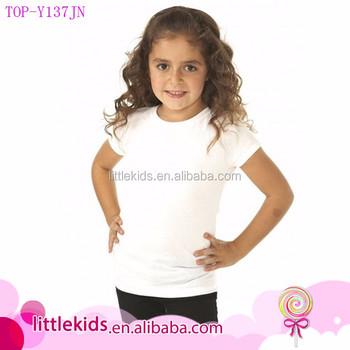 304969ab Latest New Model Shirts Little Girls Organic Blank White Tshirt Plain Kids  Slim Fit T-