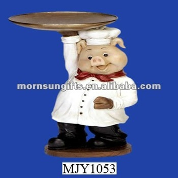 Polyresin Pig Chef Statue Holding Tray Kitchen Decor