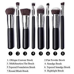 Annengjin?8PCS Makeup Brushes Professional Cosmetics Make up Brush Set Eyeshadow Eyebrow Cosmetics Tools Kit (Black handle+ Silver tube) by Annengjin