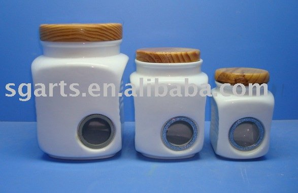 Square Ceramic Canister with wooden seasoning box