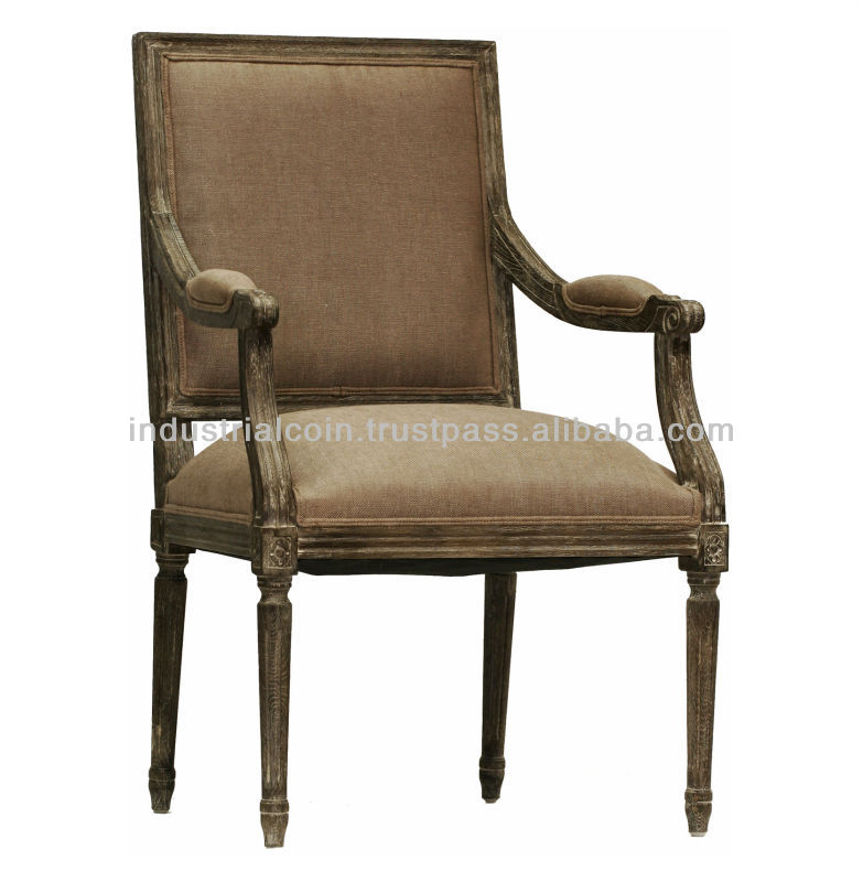 French Country Louis xvi Limed Charcoal Copper Linen Arm Chair