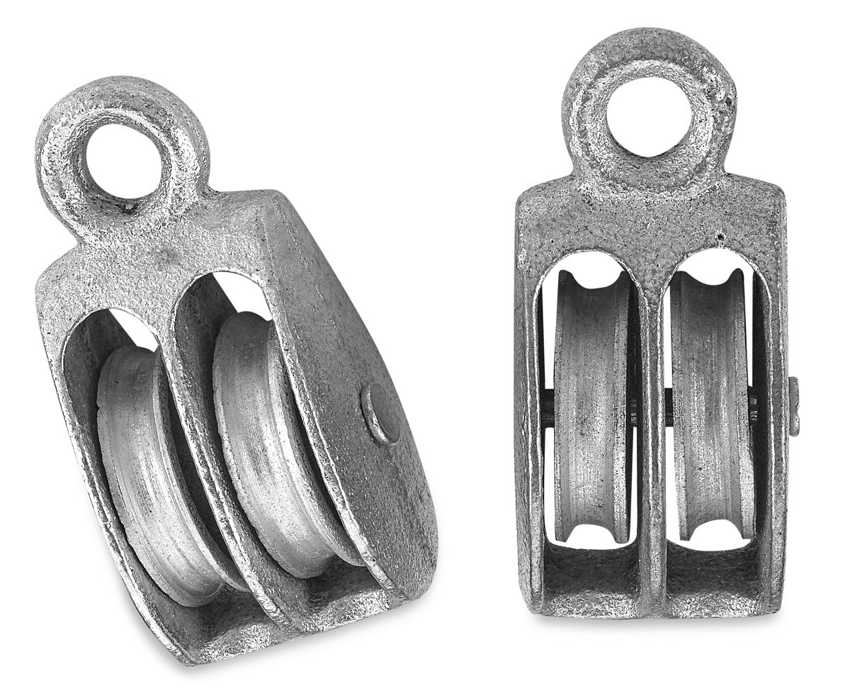 """Rope Pulley Hoist Set –2 Piece 1-1/2"""" Double Sheave Rope Hoist Pulley Block - Block And Tackle Pulley System - Up To 200 Pounds Capacity - 3/8"""" Fixed Eye – By Katzco"""