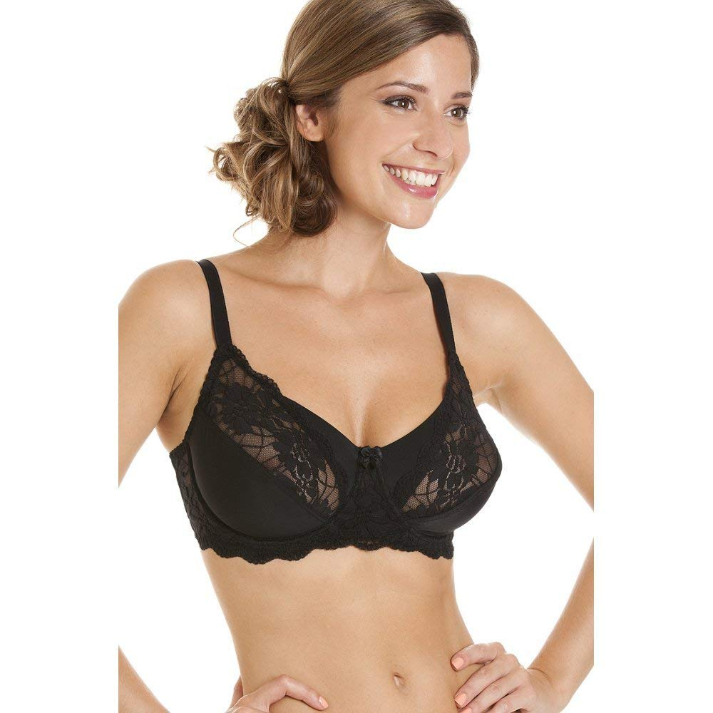 Get Quotations · Camille Womens Ladies Underwired Ladies Non Padded Full Cup  Black Lace Bra 25b1b0770