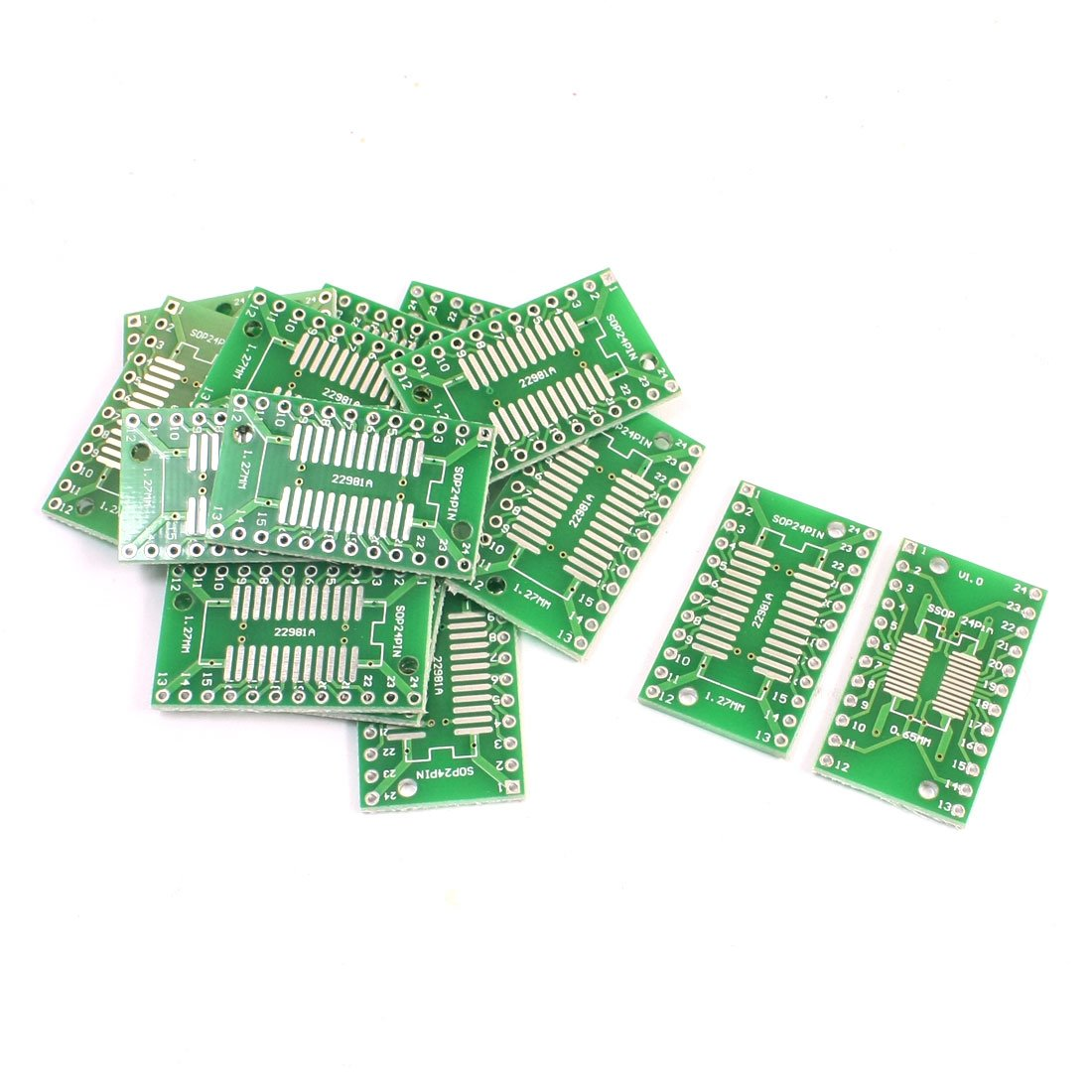 Uxcell a14062100ux0248 15 Piece SMD SOP24 SSOP24 TSSOP24 0.65 mm/1.27 mm to DIP 2.54 mm PCB Board Adapter