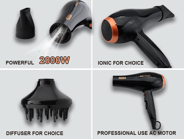PRITECH High Powerful Over Heating Protection Device Professional Hair Blow Dryer With 2 Speed
