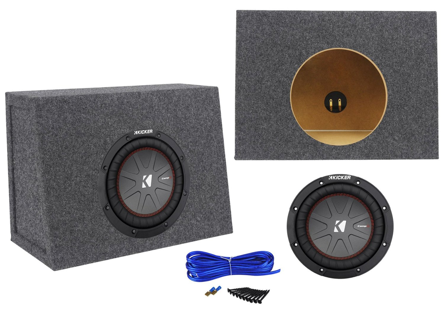 """Package:Kicker 43CWR84 600W 8""""Dual Voice Coil 4Ohm Car Stereo Sub+Single 8""""0.44 Cu.Ft.3/4""""MDF Sealed Shallow Sub Enclosure Box+Single Enclosure Wire Kit W/14 Gauge Speaker Wire+Screws+Spade Terminals"""