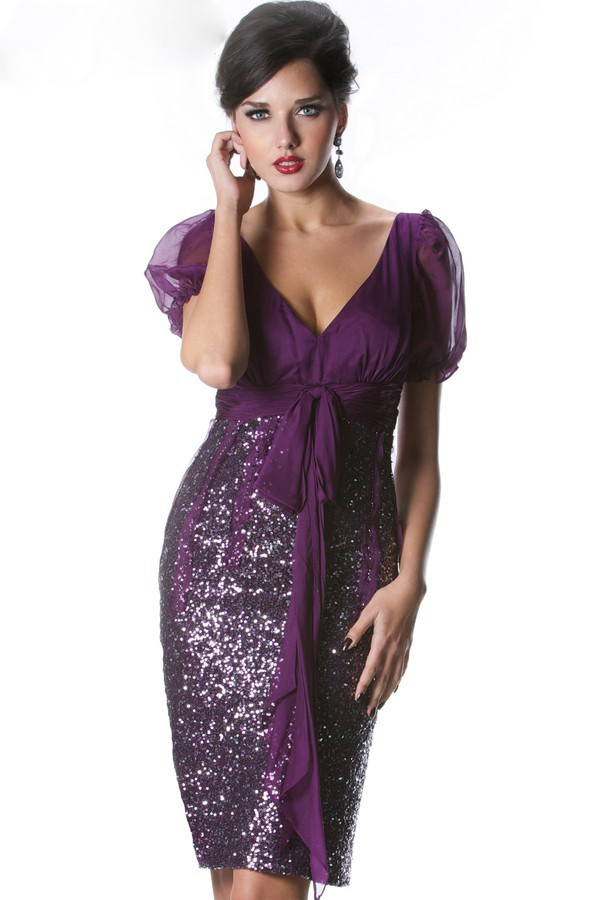 Get Quotations Gorgeous Sequins Mother Of The Bride Short Dresses Knee Length Purple Brides For Weddings