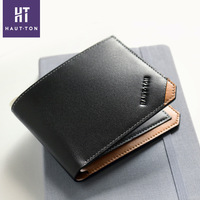Best selling new model purse black slim wallet men genuine leather wallet wholesale with gift box