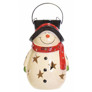 Decorative Holiday Hanging Lantern Candle Holder Ceramic Christmas Snowman Lantern for Sale