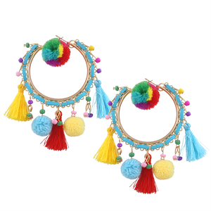 Best quality promotional silk thread earrings handmade pom indian jhumka hoop earring