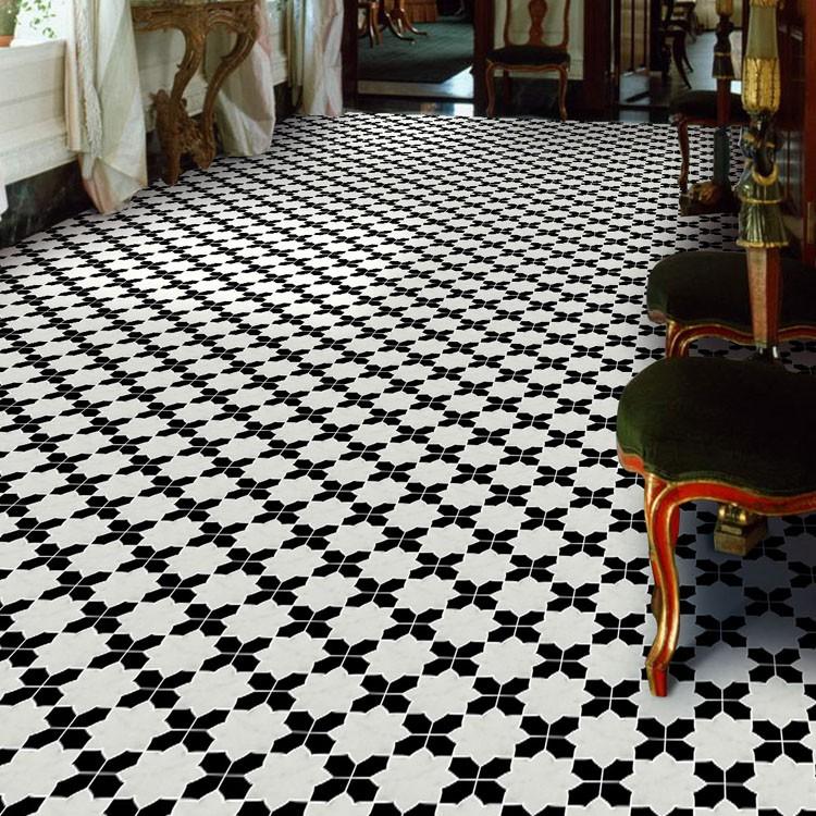 Großhandel Blume Boden Fliesen Design Marmor Wasserstrahl Schwarz Und Weiß  Mosaik