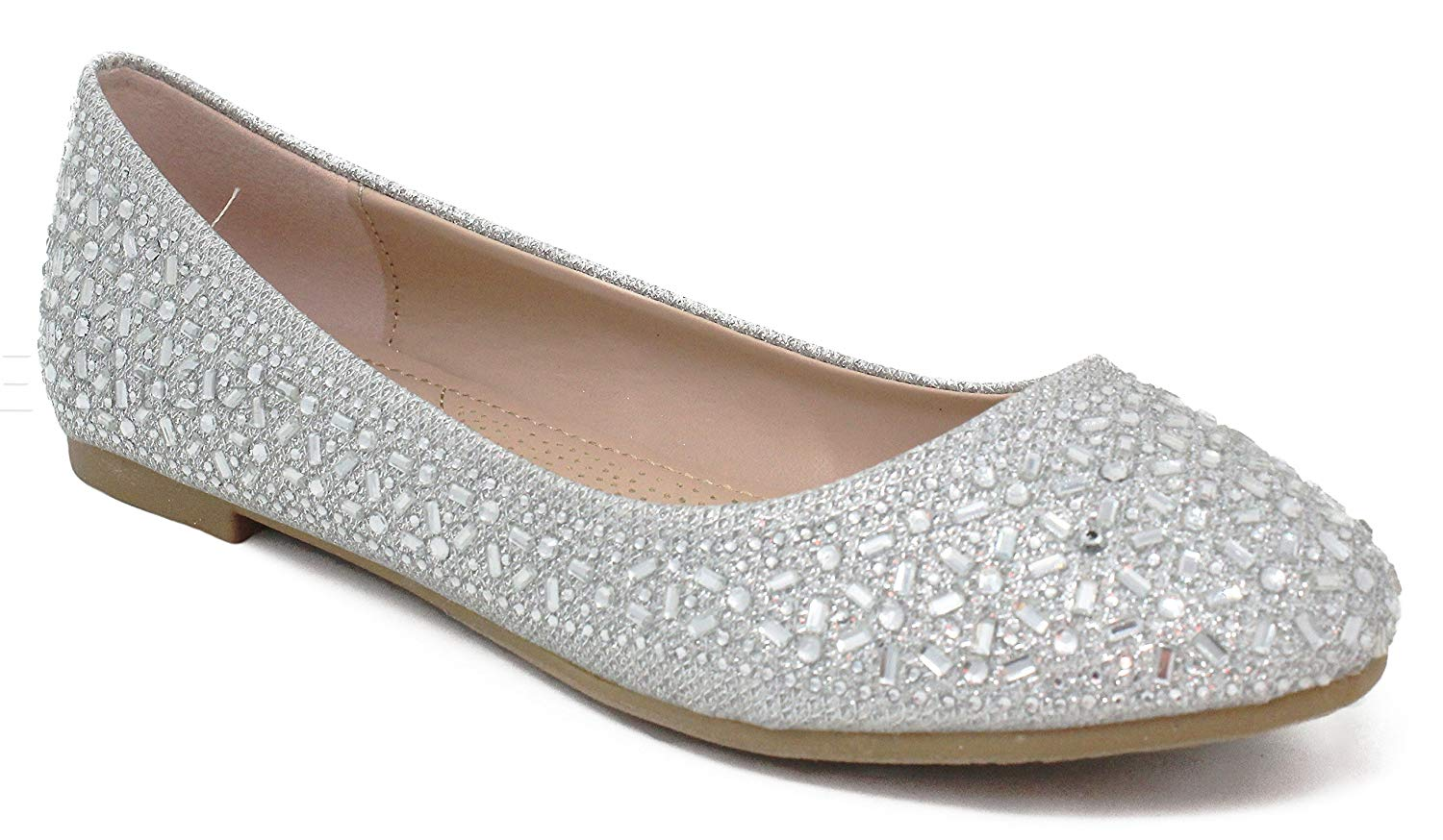 MVE Shoes Women's Crystal Rhinestone Slip On- Formal Glitter Flats