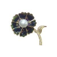 One Branch of Diamond Leaves Gold Plated Pearl Flower Brooch Pins Jewelry High Quality Brooches for Women