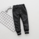 Girls warm black leather pants for 3-8 years kids