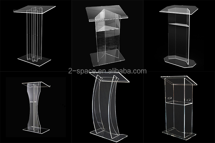 Clear Church Platform Tall Lucite Lectern Pulpit Transparent Modern Acrylic Podium