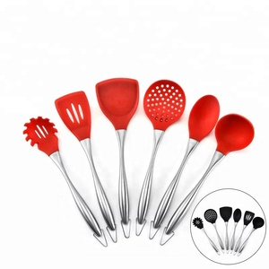 SS430 stainless steel handle silicone kitchen 5 piece cooking utensils set
