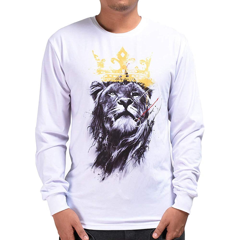 PHOTNO Mens Sweatshirts,Mens Tee Shirts 3D Print Pullover Tops Blouse Long Sleeve T Shirts for Men