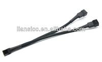 3-Pin Computer Case Fan Y Splitter / PC Power Adapter Cable w/ Black Sleeve