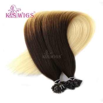 KS WIGS Italian Straight U Tip Keratin Bond Hair Extensions Red 8A Wholesale Price