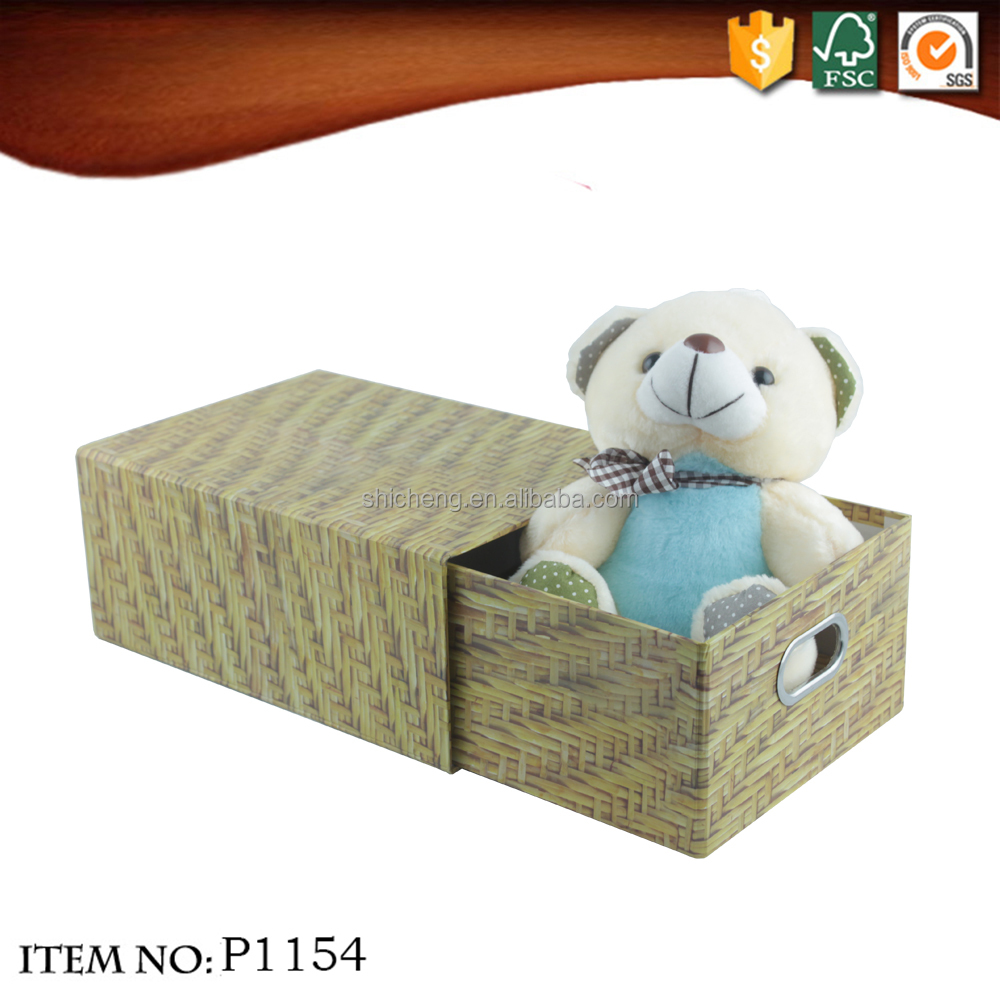 Multi-functional storage drawer folding weave bamboo decorative pattern gift cardboard box