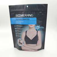 Matte black printing plastic packs with zipper for sportswear packaging bags