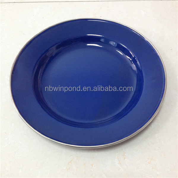 Enamel Dinner Plate For Camping Flat Blue Metal Plates