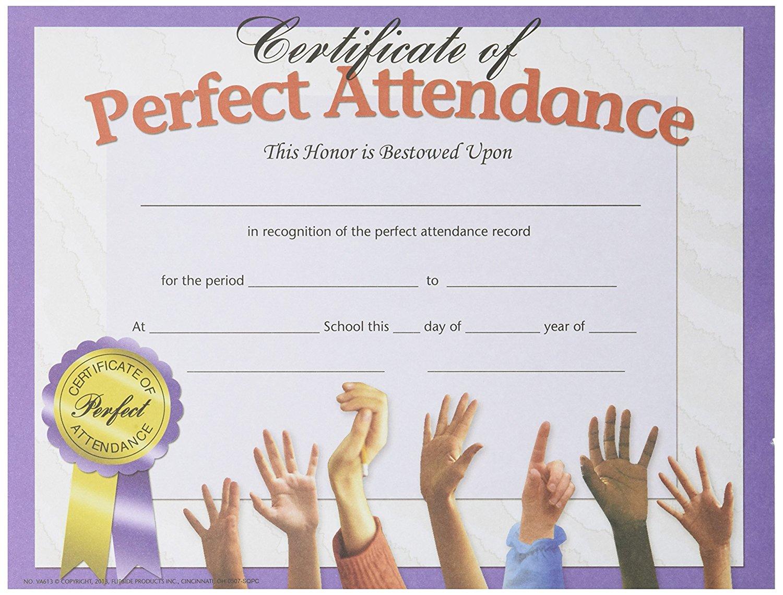 Buy Hayes School Publishing Va613 Perfect Attendance Certificate 8