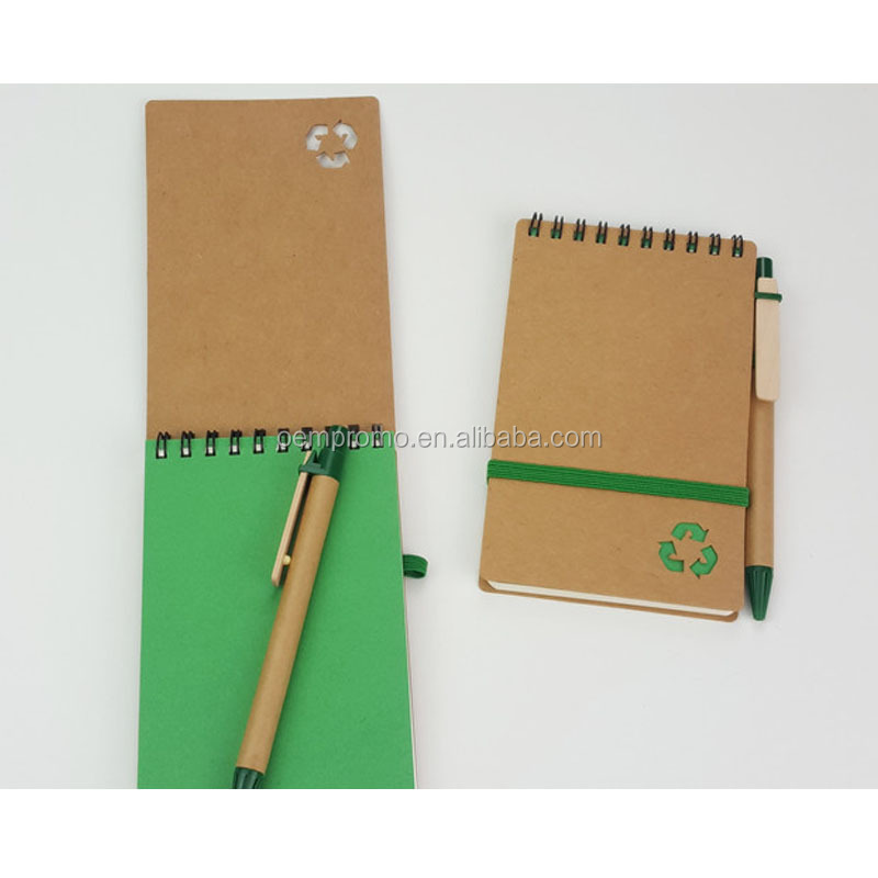 Novelty Eco Friendly Recycled Notebook , Mini Spiral Recycled Notebook With Ball Pen