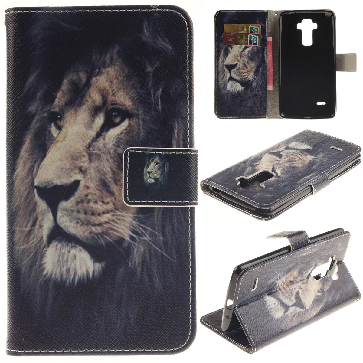 LG G Stylo Case,LG G4 Stylus / LG LS770 Case,Gift_Source [Lion] Fashion PU Leather Wallet Flip Protective Skin Case with Card Slots Holder For LG G Stylo / LG G4 Stylus (LS770) (G4 Note)