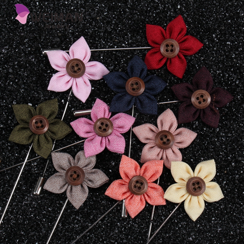 Men's Lapel Flower Stick Brooch Pin Boutonniere Pin for Suit