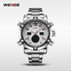 WEIDE Fashion New Design Army Style Mens Wrist Watch 3atm Water Resistant Genuine Stainless Steel relogio masculino