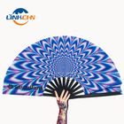 Custom Large Folding Hand Rave Fan With Fabric Printing