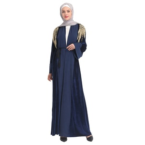 Fashion new arrival velvet with lace and pearl wholesale price arabic islamic clothing abaya dubai