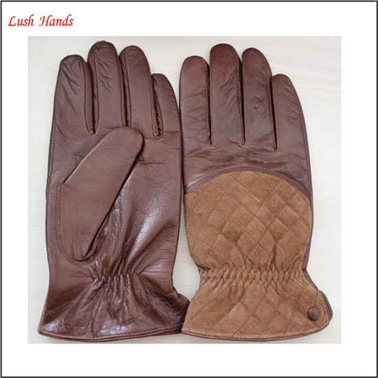 Combined cheap sheep leather gloves with pigsuede fabric