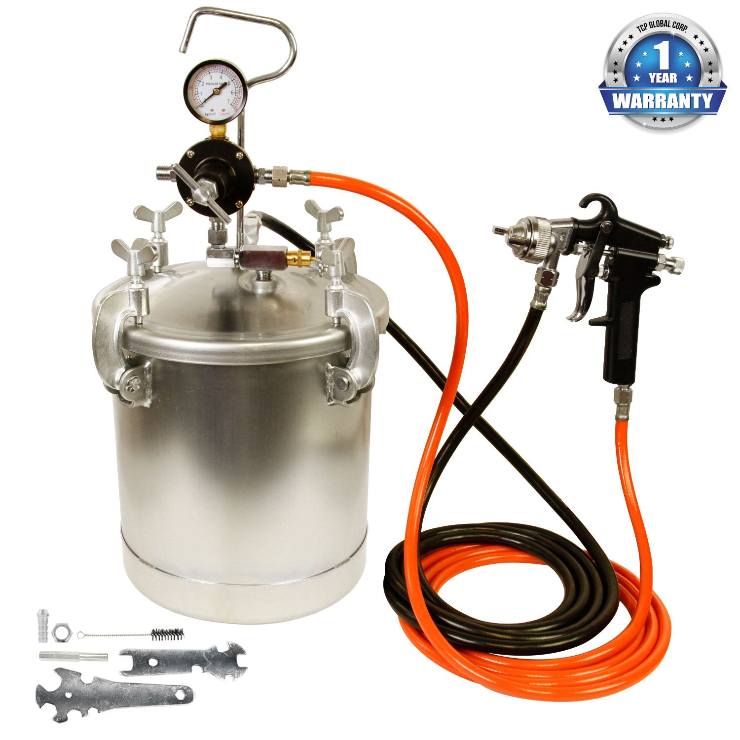 TCP Global Pressure Tank Paint Spray Gun with 1.5 Mm Nozzle 2-1/2 Gal. Pressure Pot & Spray Gun with Hoses