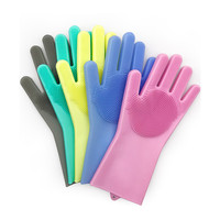 Wholesale Heat Resistant Reusable Household Kitchen Dish Washing Cleaning Rubber Scrubbing Silicone Magic Glove with Sponge