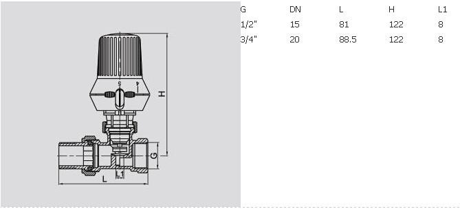 J3004 brass straight radiator valve, temperature control valve, brass radiator valve pn16