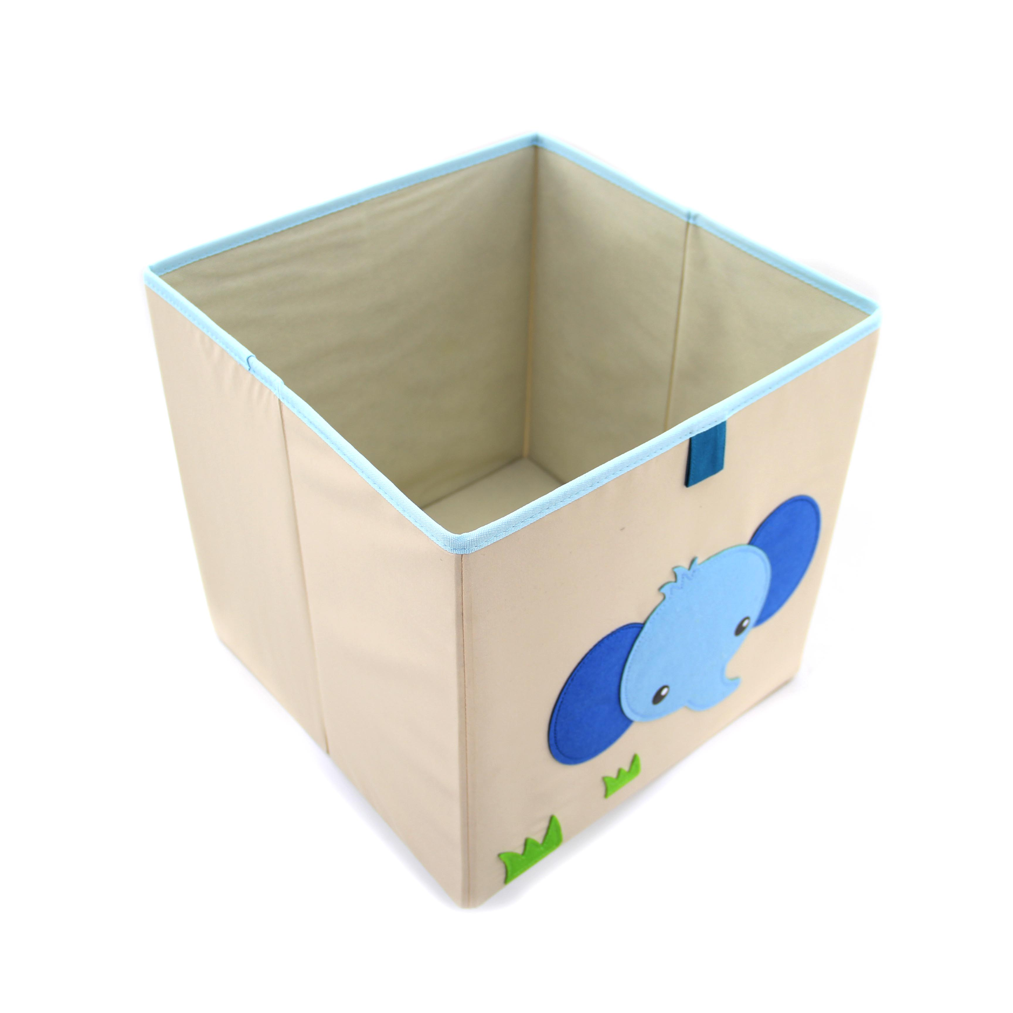 Cute Kids Toy Organizer Baby Clothing Folding Storage Box Collapsible Fabric Storage Cube Boxes with Animal Embroidery