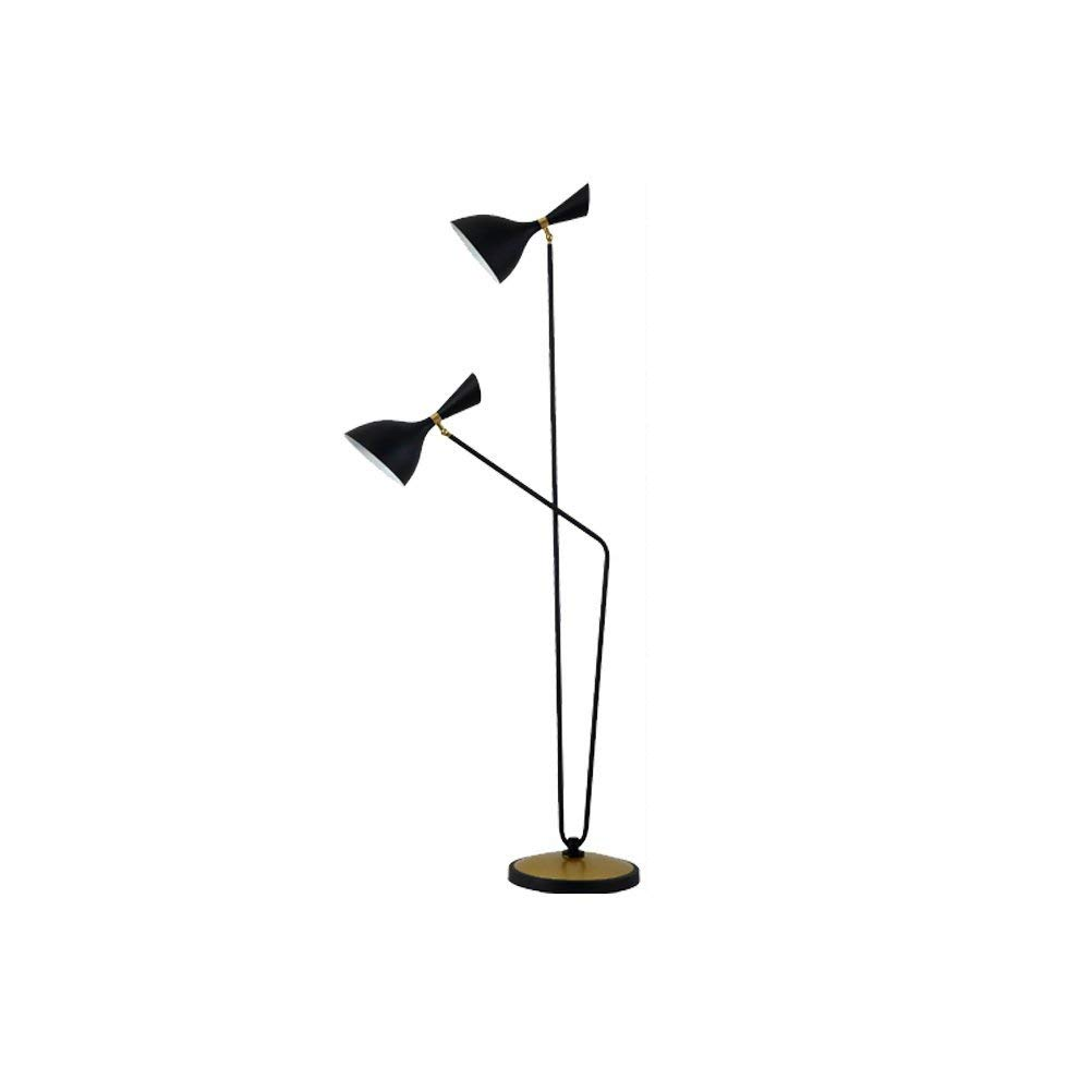 WAN SAN QIAN- Retro Industrial Style Floor Lamp E14 Iron Living Room Study 2-Head Floor Lamp Black 160X60cm Floor Lamp