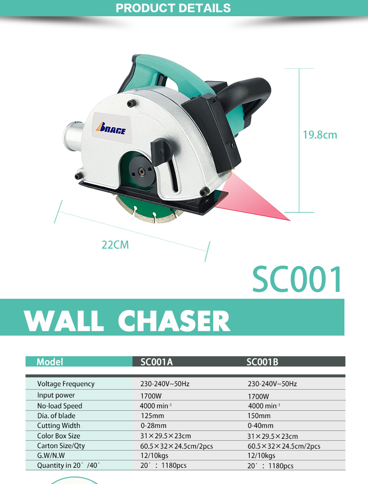 DIY Power Tools 150mm Muur Groove Chaser Machine 1700W