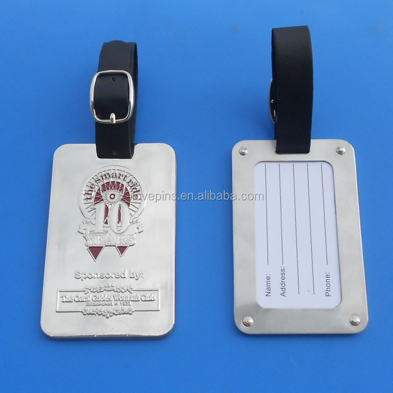 10th anniversary metal tags for luggag and bag leather strap