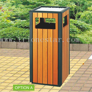 Outdoor Wooden Trash Bin With Ashtray On Top