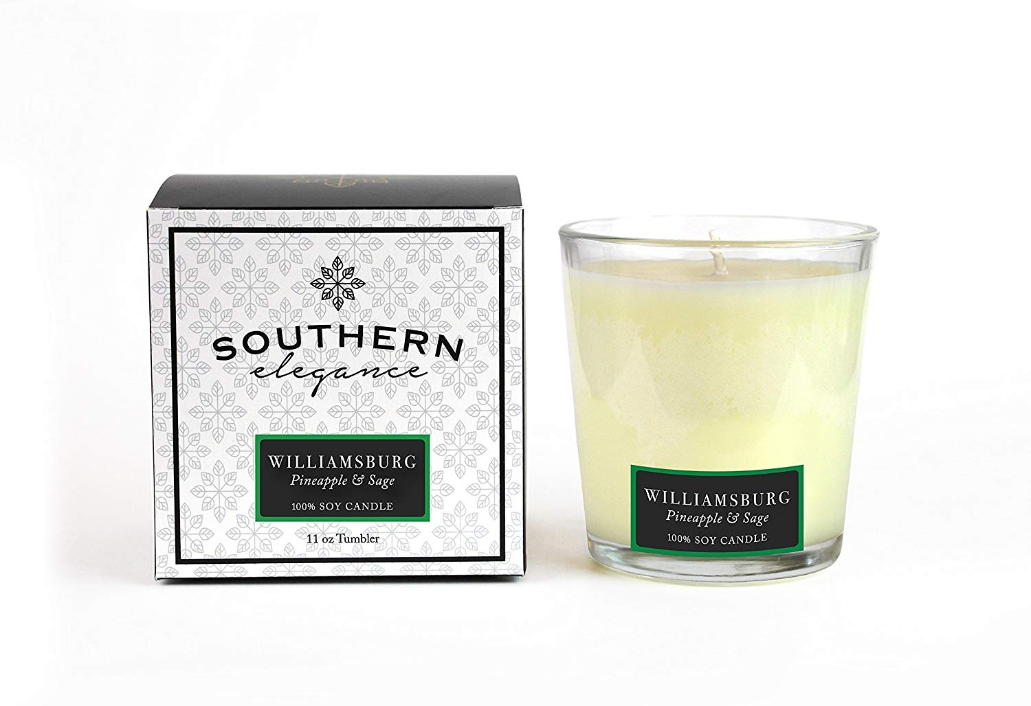 Southern Elegance Williamsburg: Pineapple Sage Scented Soy Candle~ 11 oz Soy tumbler