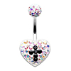 Surgical Steel AB Crystal Black Cross Crystal Jewelled Women Belly Button Ring
