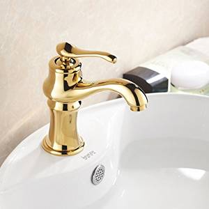 Furesnts Modern home kitchen and bathroom faucet European gold-copper gold-plated Faucets lavatory Faucets hot and cold Bathroom Sink Basin Mixer Faucets Faucets,(Standard G 1/2 universal hose ports)