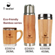 No moq coffee termos cup bamboo wooden travel mug with low price