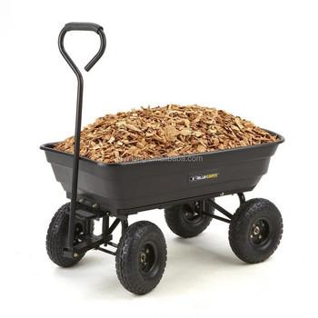 Heavy Duty 4 Wheel Garden Dump Tool Cart Trolley Hand Carts Tipper Tipping  Trailer Dump Wheelbarrow
