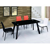 Cheap black single layer tempered glass dining table and 6 chairs set