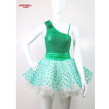JW Chinese supplier jazz ballet performance dress kids girls one shoulder shiny sequins dress tutu skirt sexy dance costume