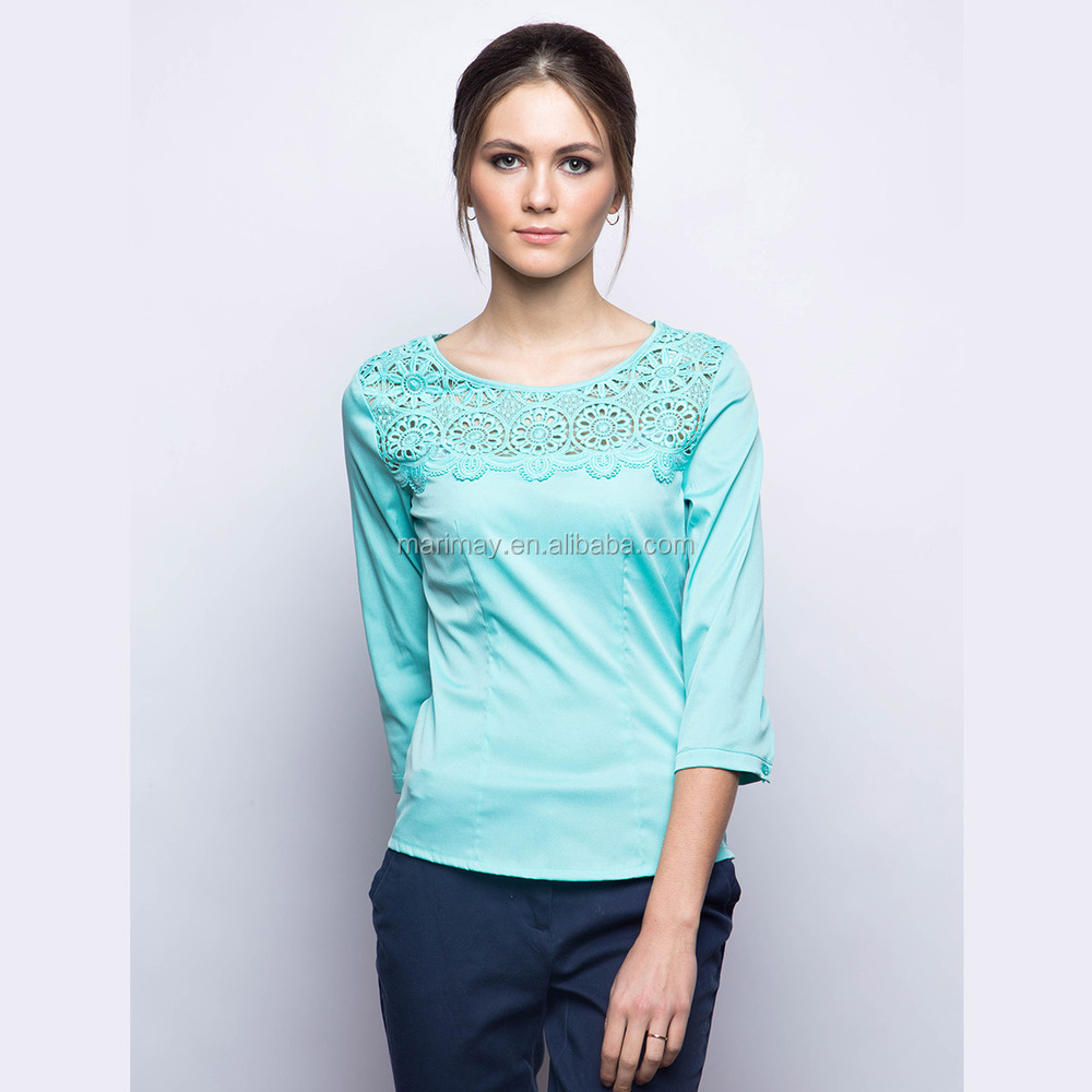 Shirt design ladies 2015 - 2015 Fashion Latest Design 3 4 Long Sleeves Tops Images Of Ladies Casual Tops